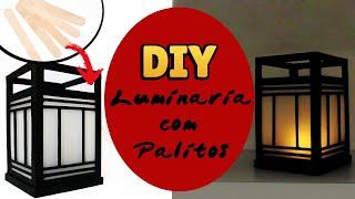 DIY: COMO FAZER LUMINÁRIA ORIENTAL - PALITOS DE PICOLÉ - Popsicle Sticks Crafts #diypalitos