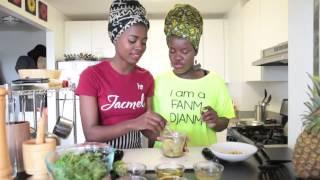 Nadege & Paola Make Arugula Salad With Grilled Corn And Shrimp