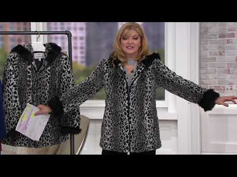 Dennis Basso Woven Animal Print Faux Fur Jacket with Hood on QVC 4c146e90a6057