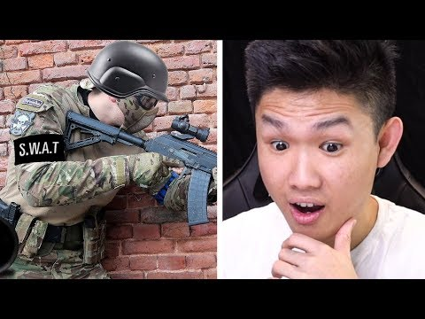 SWAT Officer trying airsoft for the first time
