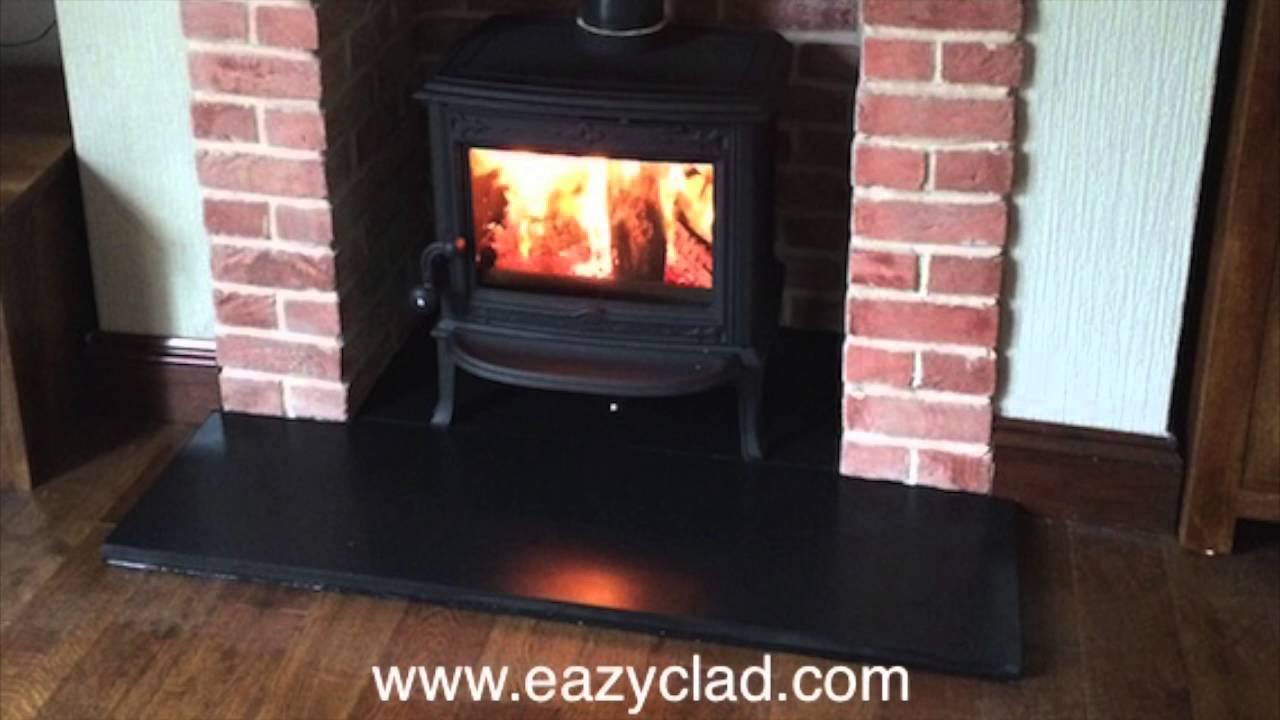 Brick Fireplace Surround Made With Red Brick Slips Youtube
