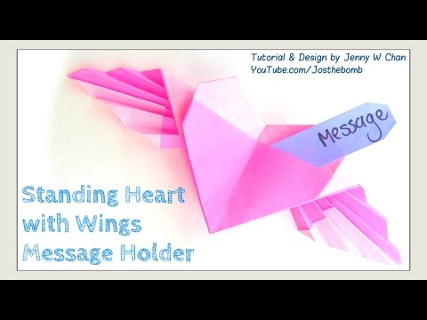 how to make a paper heart with wings