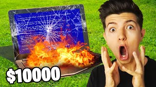 I DESTROY PRESTON'S iPhone, Laptop, Drone, & PS4 $10,000 Total - Crushing Things with 7000lbs Roller