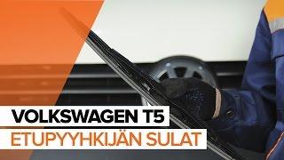 VW TRANSPORTER V Platform/Chassis (7JD, 7JE, 7JL, 7JY, 7JZ, 7FD Pyyhkijänsulat asennus : ilmainen video