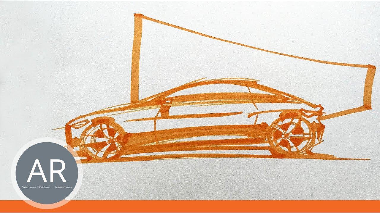 Auto-Skizzen mit Markern zeichnen. Schnell und effektiv ...