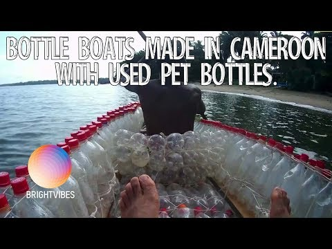 Bottle boats made in Cameroon with used pet bottles.