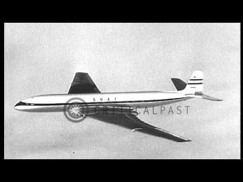 British de Havilland Comet MK 2 jetliner cuts flight time from Zürich to London i...HD Stock Footage