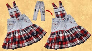 Download Video Diy Old jeans Convert to Beautiful Dungaree dress for baby girl // by simple cutting MP3 3GP MP4