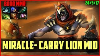 Miracle- 8000MMR INCREDIBLE Carry Lion gameplay DOTA 2