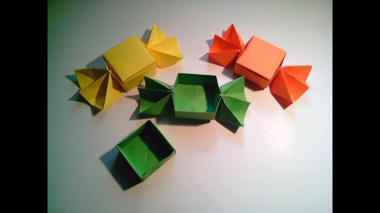 Como hacer una caja caramelo de papel sin pegamento - Como hacer cosas de papel paso a paso faciles ...