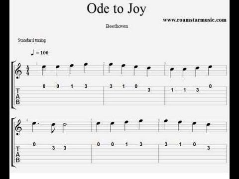 Guitar guitar tabs for beginners songs : Ode to Joy Guitar Pro tab for beginners - YouTube