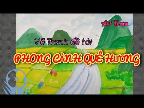 Vẽ tranh Phong Cảnh Đơn Giản – CÁNH ĐỒNG LÚA QUÊ EM #Vetranhphongcanh