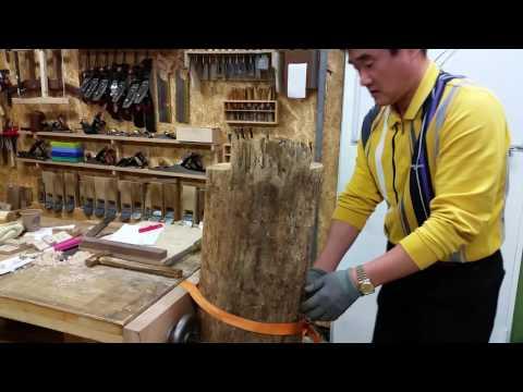 Rip Sawing with Japanese lumber rip saw (목만거(木挽鋸)