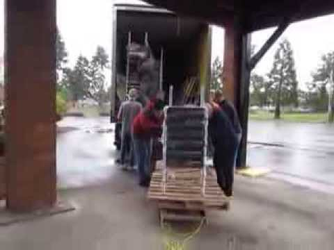 "The ""Modern-Way"" to unload 400 disassembled chairs off a Central Transport Truck"