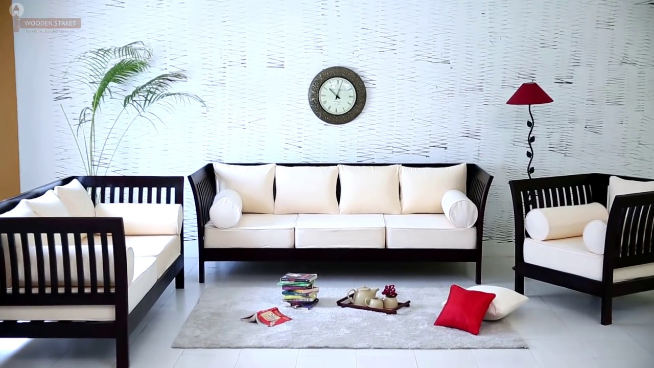 Sofa set online wooden raiden sofa set wooden street youtube