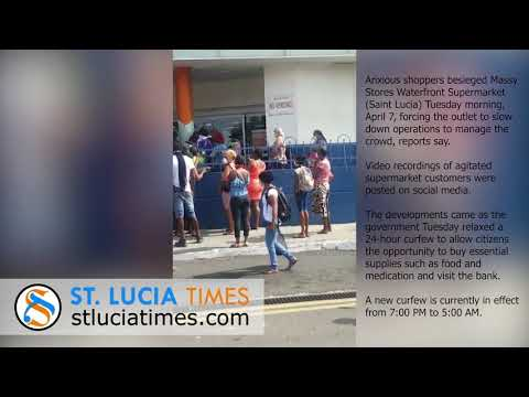 Anxious Shoppers At Massy Stores Waterfront Supermarket   Saint Lucia