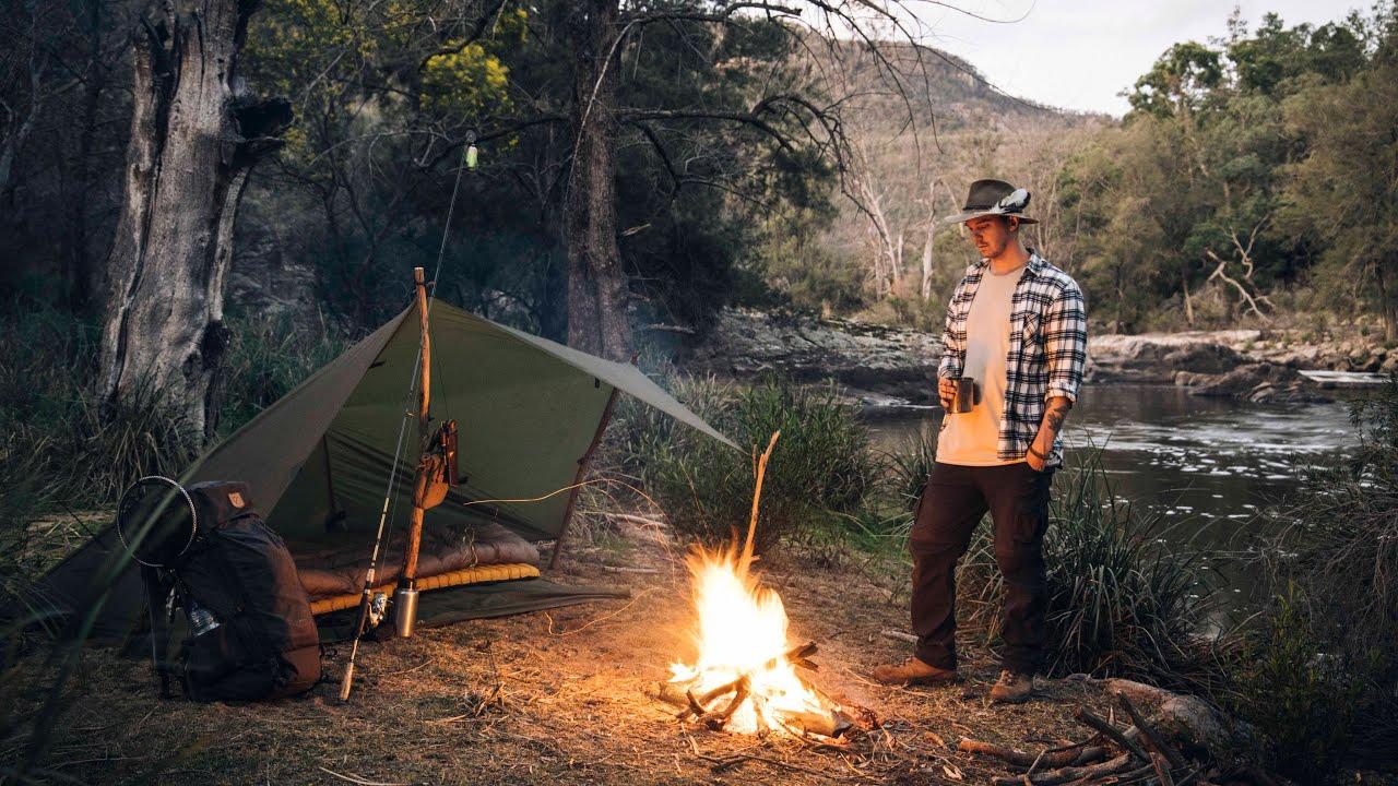 Solo Australian Bushcraft Camp || Fishing For Murray Cod