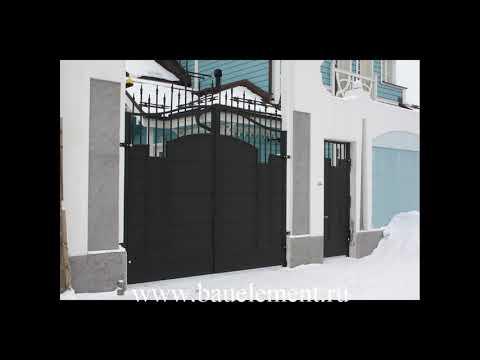 Распашные ворота в комбинированной зашивкой