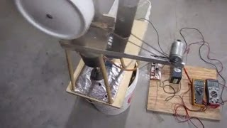 Stirling engine runs fan, pump, charges battery at same time