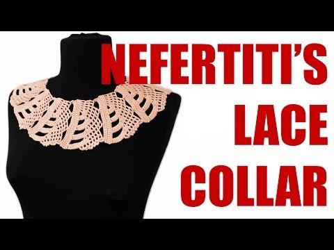 Crochet collar tutorial Nefertitis lace collar Adult lace collar Wika crochet