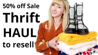 Thrift Haul to Resell on Poshmark | 50% Off Sale | Make Money Selling Used Clothes Online #Thrifter