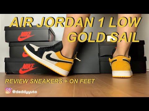 AIR JORDAN 1 LOW GOLD SAIL   REVIEW SNEAKERS + ON FEET BAHASA INDONESIA