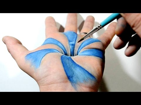 Trick Art on Hand - Cool 3D Hole Optical Illusion