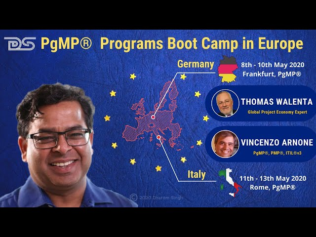 Upcoming Europe PgMP® Programs | Dharam Singh | Thomas Walenta | Vincenzo Arnone | May 2020 | PMI