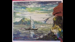 Abstract Painting  Most Satisfying Video Of Drawing Seascape Painting  Acrylics Painting 50