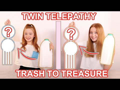 DIY Art TWIN TELEPATHY TRASH TO TREASURE *DIY Room Decor Art Challenge | Sis Vs Sis | Ruby and Raylee