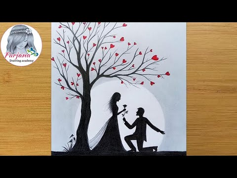 Pencil Sketch – Romantic Propose Scenery || How to draw Romantic couple under love tree