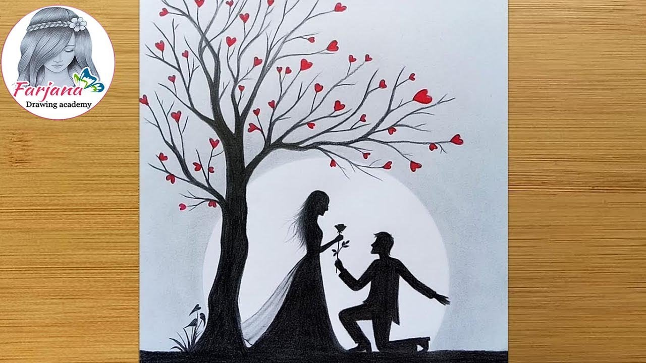 Pencil Sketch Romantic Propose Scenery How To Draw Romantic Couple Under Love Tree Youtube