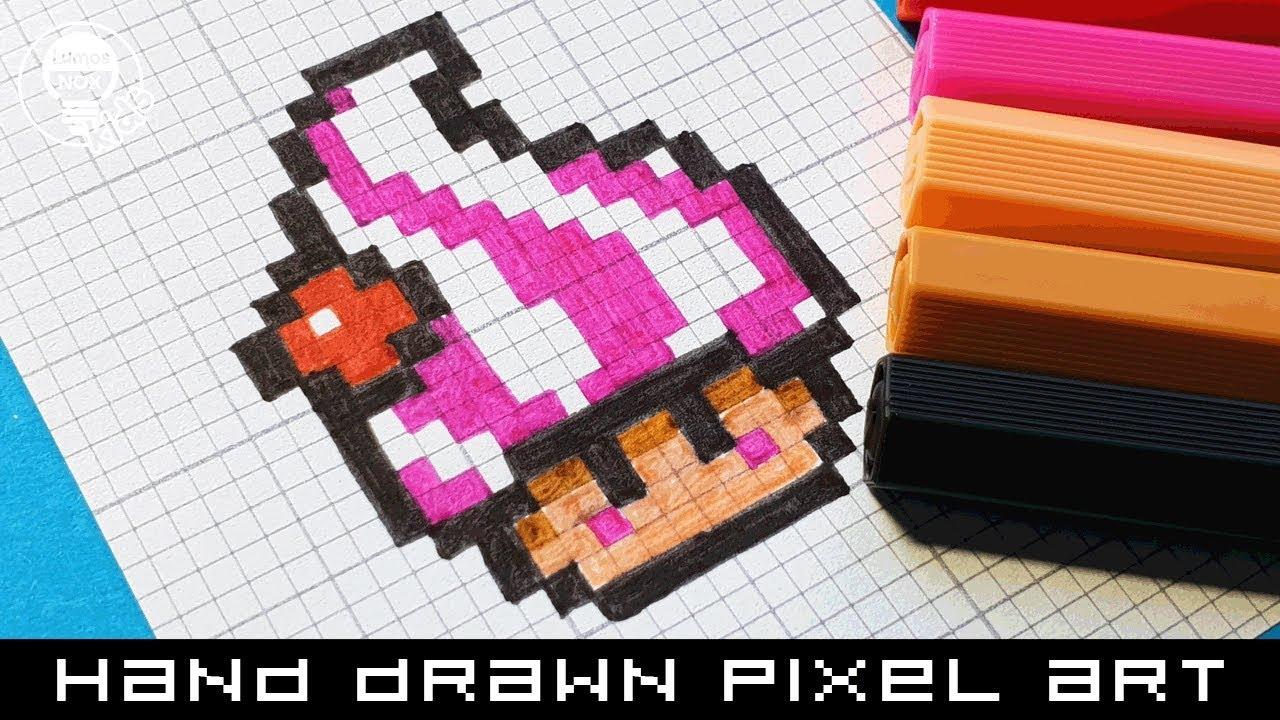 Hand Drawn Pixel Art Speedpaint How To Draw An Ice Cream Mushroom Mario Bros Pixelart Speedpaint