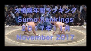 【大相撲年間ランキング/2017年11月】 引退 日馬富士 最後のランキング...