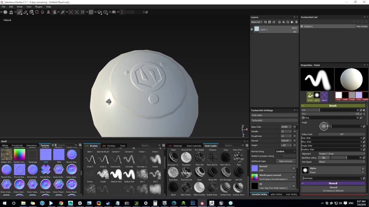 Painting out Normal bake artifacts in Substance Painter