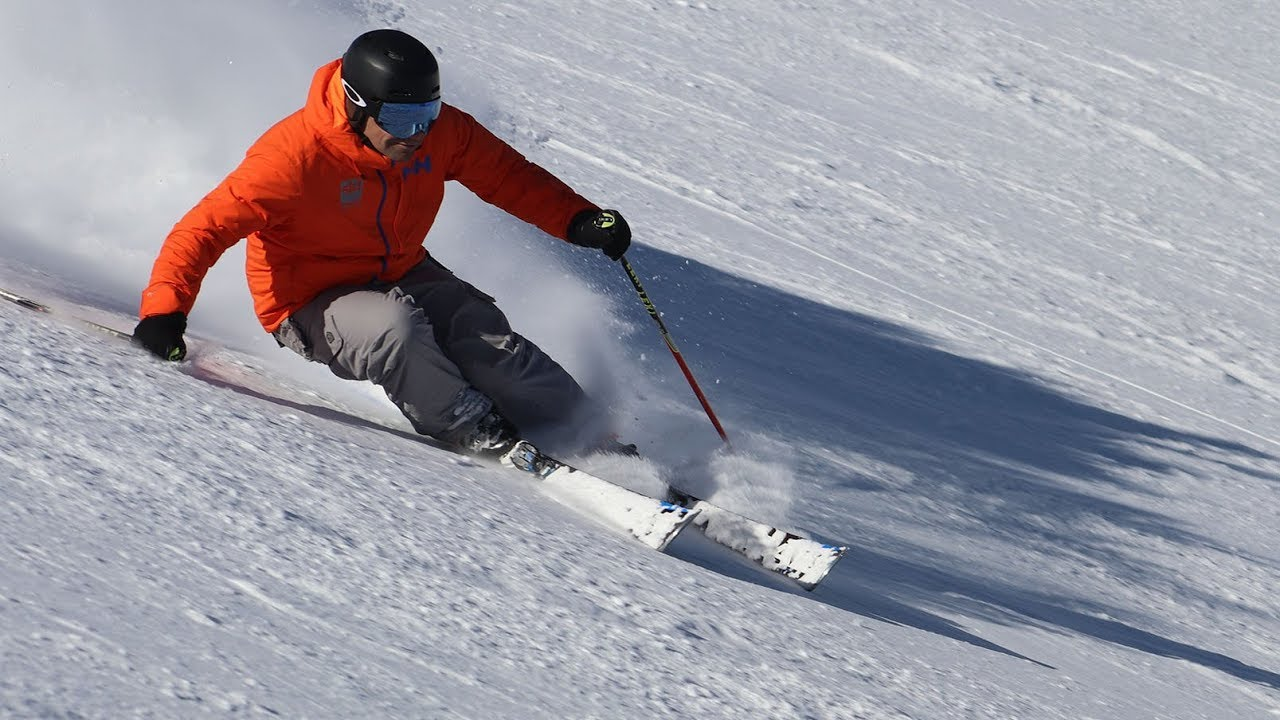 Carving corduroy piste to peak ski instruction teaser