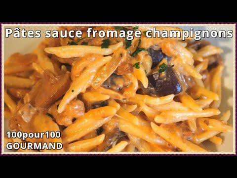 recette-de-pâtes-sauce-tomate-crème-fraîche-au-fromage-et-champignons.