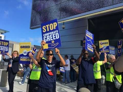 AA STOP TWU Outsourcing & Union Busting!  TWU SFO Workers & Supporters Rally