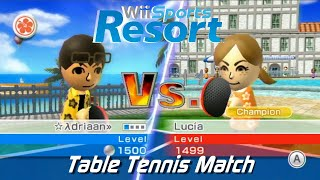 Wii Sports Resort - Table Tennis Match: vs Champion Lucia + All Stamps