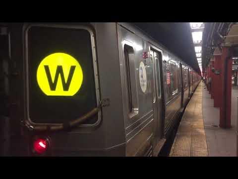 BMT Broadway Line: (N) (Q) (R) (W) Train Action @ Cortlandt Street (R46, R68A, R160)