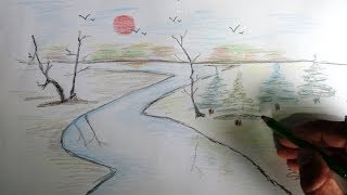 How to draw a Scenery-  Color pencil drawing.