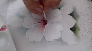 Pintura em Tecido – Aprenda pintar Hibisco Branco, Botão, Folhas e Fundo