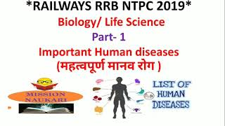Biology | Important Human Diseases | General Science and Life Science for RRB NTPC 2019