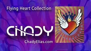 Chady Elias   Visual Artis    Flying Heart   Gold Pink   Fine Art   Painting   CHADY Art