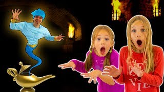 Amelia and Avelina find a magic lamp adventure with a funny Genie