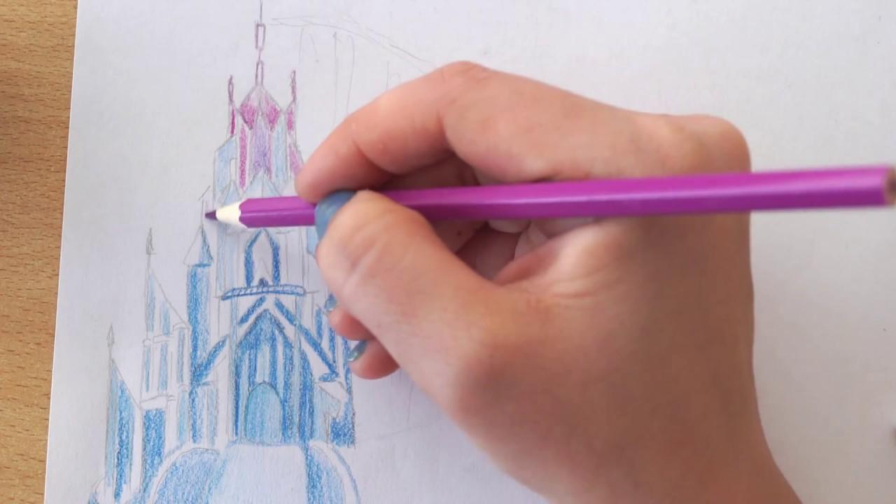 Schloss zeichnen von Eiskönigin - how to draw Ice Palace I Frozen ...