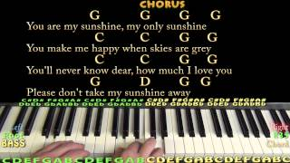 You Are My Sunshine - Piano Cover Lesson with Chords, Lyrics