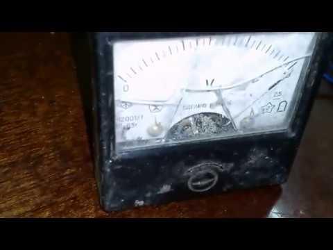 Подключение амперметра и вольтметра к ЗУ.  Connecting the ammeter and voltmeter to the charger.