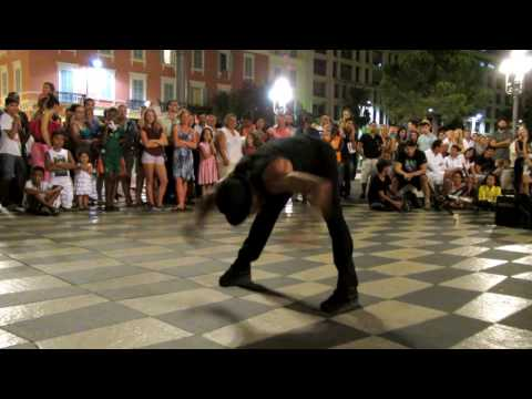 Street dancer/acrobat at Place Massena, Nice, France 11 August 2014