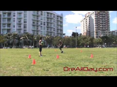 Dre Baldwin: Karaoke Defensive Slide w/ Medicine Ball Passing Drill Pt. 1 | Quickness Stamina Speed